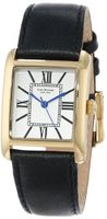 Isaac Mizrahi IMN04B Black Gold Tone Tank Polished Case Roman Numeral Dial Black Leather Strap