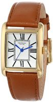 Isaac Mizrahi IMN04L Lug Gold Tone Tank Polished Case Roman Numeral Dial Luggage Leather Strap