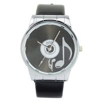 Big Stylish Fashionable Graceful PU Leather Band Quartz Movement Wrist -Black