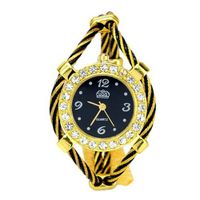 Bracelet Quartz Movement Wrist Set with Rhinestone Decoration - Black