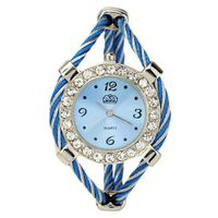 Bracelet Quartz Movement Wrist Set with Rhinestone Decoration - Blue