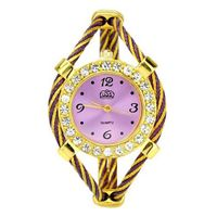 Bracelet Quartz Movement Wrist Set with Rhinestone Decoration - Purple