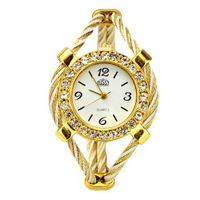 Bracelet Quartz Movement Wrist Set with Rhinestone Decoration - White