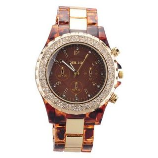 ujss Quartz Wrist w/Plastic + Stainless Steel Band & Rhinestone Decorations for Female Brown Dial