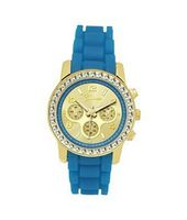 TRENDY FASHION Aqua Blue Silicon Strap , Gold Stone Case/Gold Dial BY FASHION DESTINATION