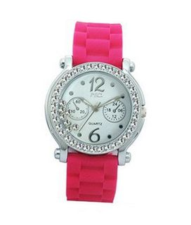 TRENDY FASHION Hot Pink Silicon Strap , Silver Stone Case/White Dial, Floating Stones BY FASHION DESTINATION