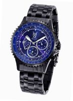 Black Bracelet Blue Dial Diamond Accent Multifunction Day Date Konigswerk AQ101103G
