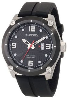Lancaster OLA0480NR Trendy Black Textured Dial Black Silicone
