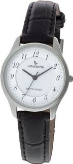Laurens Q057J900Y Leather Analog Black Leather Strap White Dial