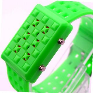 2013 New Unisex Hot Sale Green Grid Plastic Multifunctional Surface Design Silicone Strap LED Wacth 1076
