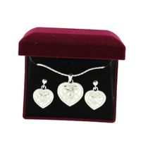 Lightning Ridge 29611 Crystal Heart Jewelry Set Silver