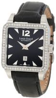 "Louis Erard 20700SE02.BAV11 ""Emotion"" Stainless Steel, Black Leather, and Diamond Square Automatic"