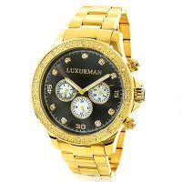 Black Dial Yellow Gold Plated Luxurman Diamond for  0.2ct New