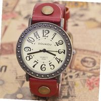 MagicPiece Handmade Vintage Style Leather For  Big Dial Cow Leather of Vintage Style in 5 Colors: Red