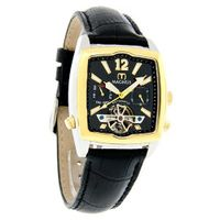 Magnus Halifac Gold Tone Black Day/Date Automatic Leather M111mtb02