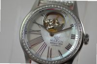 Ladies Marvin Diamond Open Heart Swiss Automatic Mother of Pearl Dial Silver Leather Strap