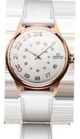 Ladies Marvin Exotic Rose Gold Spiraling Silver Dial Off-white Leather Swiss Made Dress