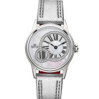 Ladies Marvin Off-centered Diamond Accented Dial Silver Leather Swiss Made