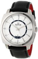 Marvin M022.13.31.64 Malton 160 Cushion Silver Dial Black Leather Strap