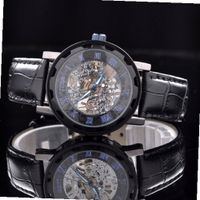 Black Leather Gold Skeleton Hand Wind Mechanical Unisex Dress es