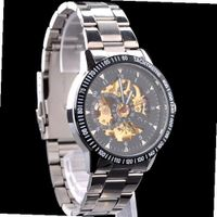 Fashion Skeleton Mechanical Transparent Dial Analog Stainless Steel  Sport