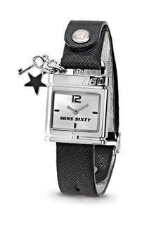 Miss Sixty Ladies Srb002 In Collection Lucchetto, 2 H and S, Silver Dial and Black Strap