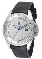 Momentus Black Leather Band Stain & White Dial Wrist FD220S-02BS