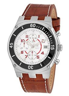 Momentus Brown Leather Band & White Dial Chronograph FD232S-02BS