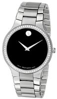 Movado 0606384 Serio Stainless-Steel and Diamond Black Round Dial