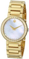 Movado 0606422 Concerto Gold-Plated Stainless-Steel White Mother-Of-Pearl Round Dial
