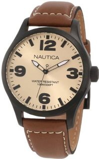 Nautica N13616G BFD 102 Stainless Steel and Brown Leather