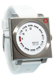 Novo the UNKNOWN Silver and White Square Face 1 White Dial White Poly Strap