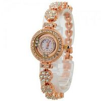B2601 Mini Rhinestone Metal Band with Flower Round Dial Quartz Movement Wrist -Golden