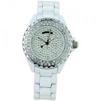 Bling Bling! Luxury Ceramic Band Style Round Dial with Diamond Rhinestone Ceramic Style Ladies  -White