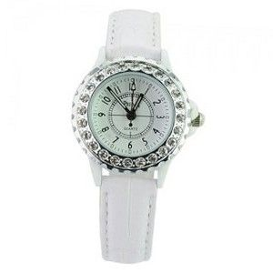 Woman Mini PU Leather Wristband Casual with Round Dial Covered Rhinestone-White