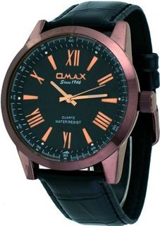 Omax #X007F221 Brown IP Roman Black Dial Casual Leather Band