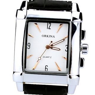 Orkina Elegant Rectangular Silver Case White Dial Quartz Leather Strap Wrist W150-S