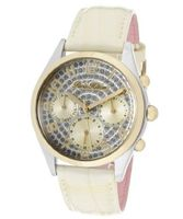 Beverly Silver Glitter Dial Ivory Pearl Tone Genuine Calf Leather