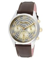 Beverly Silver Glitter Dial Shiny Dark Brown Genuine Calf Leather
