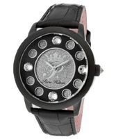Fame White Crystal Silver Glitter/Black Dial Metallic Black Genuine Calf Leather
