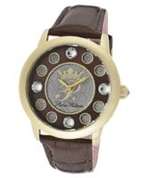 Fame White Crystal Silver Glitter/Brown Dial Metallic Brown Genuine Calf Leather
