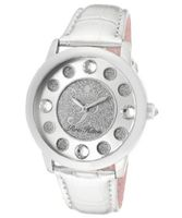 Fame White Crystal Silver Glitter/Silver Dial Metallic Silver Genuine Calf Leather