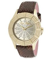 Heiress White Crystal Champagne/Silver Glitter Dial Black Genuine Calf Leather