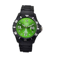 Paris Kids Silicone Quartz Calendar Date Black and Green Dial Designed in France Fashion
