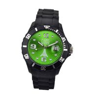 Paris  Silicone Quartz Calendar Date Black and Green Dial Designed in France Fashion