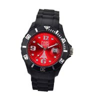 Paris  Silicone Quartz Calendar Date Black and Red Dial Designed in France Fashion