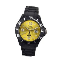 Paris  Silicone Quartz Calendar Date Black and Yellow Dial Designed in France Fashion