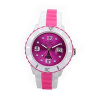 Paris  Silicone Quartz Calendar Date White and Multicolor Pink Dial Designed in France Fashion