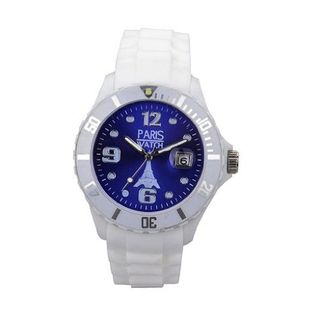 Paris Woman Silicone Quartz Calendar Date White and Dark Blue Dial Designed in France Fashion