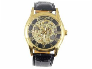 Paris Yellow Gold Plating over Sterling Silver Automatic Skeleton Leather Designed in France